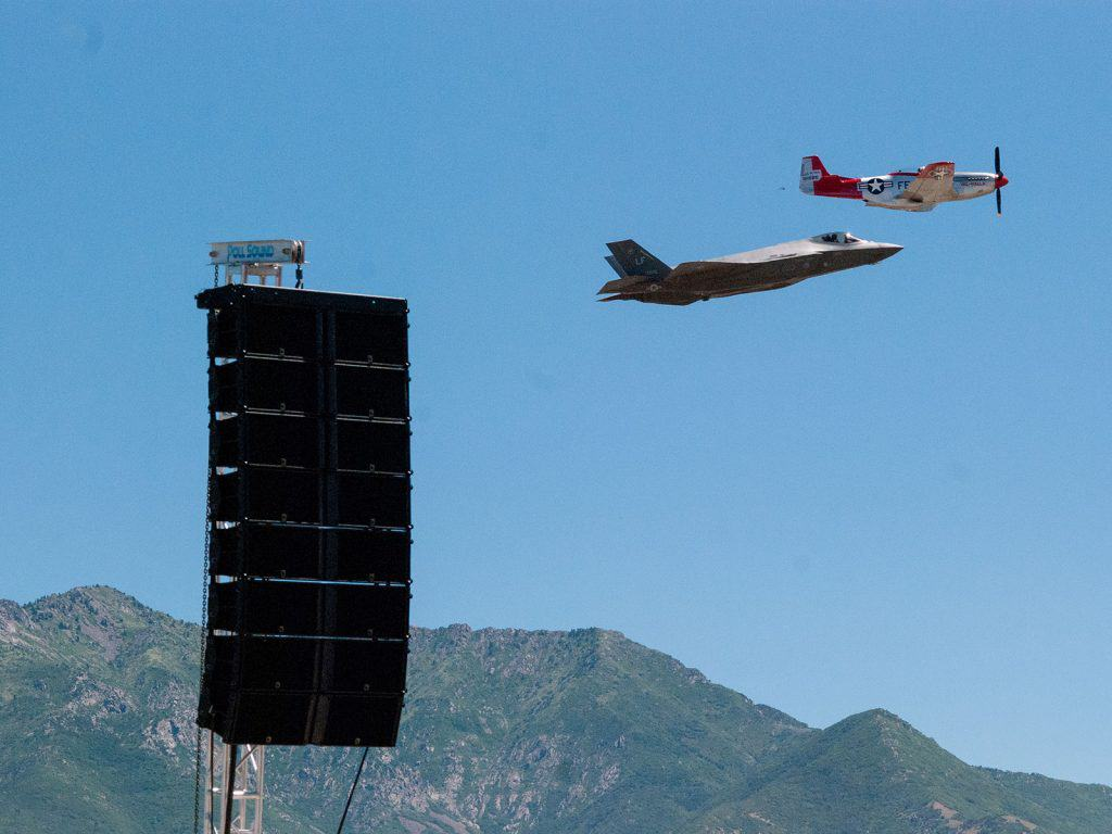 speakers with F-35 and P-51