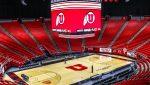 basketball arena with scoreboard